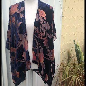 NWOT Faux Blue Velvet Kimono